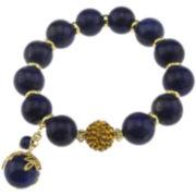 NATE & ETAN Lapis & Yellow Crystal Stretch Bracelet