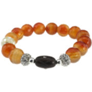 NATE & ETAN Orange Mixed Media Stretch Bracelet