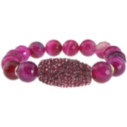 NATE & ETAN Pink Agate & Crystal Stretch Bracelet