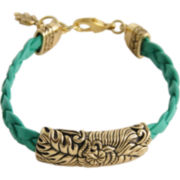Art Smith by BARSE Floral Aqua Leather Bracelet