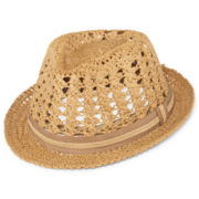 Scala™ Woven Straw Fedora - Big & Tall