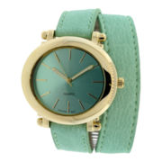 Womens Faux Leather Wrap Strap Watch