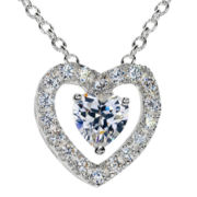 Silver-Plated Cubic Zirconia Heart Pendant Necklace