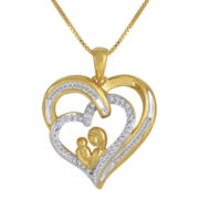 1/4 CT. T.W. Diamond Two-Tone Mothers Heart Pendant Necklace