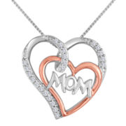 1/4 CT. T.W. Diamond Two-Tone Mom Double Heart Pendant Necklace