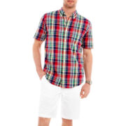 St. John's Bay® Madras Plaid Shirt and Flat-Front Shorts