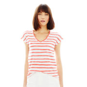 Joe Fresh™ Short-Sleeve V-Neck Striped Tee