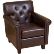 Veronica Bonded Leather Tufted Club Chair