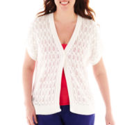 Liz Claiborne Short-Sleeve Cardigan Sweater - Plus