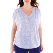 Liz Claiborne Short-Sleeve V-Neck Tee with Shirring - Plus