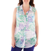 Liz Claiborne Sleeveless Blouse - Plus