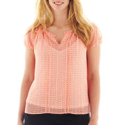 Zac & Rachel® Short-Sleeve Peasant Blouse with Cami - Plus
