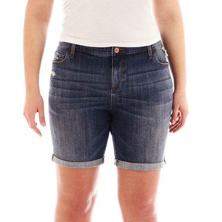 jcp Roll-Cuff Boyfriend Shorts - Plus