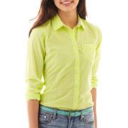 jcp Long-Sleeve Gingham Shirt