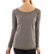Xersion™ Long-Sleeve Boatneck Seamed Melange Tee