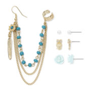 Carole Triple-Chain Ear Cuff and 3-pc. Stud Set