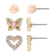 Sensitive Ears Rose Heart Butterfly 3-pr. Earring Set