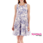 Danny & Nicole® Sleeveless Floral Print Piqué Fit-and-Flare Dress