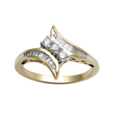 jcpenney.com | 1/3 CT. T.W. Diamond 10K Yellow Gold 3-Stone Bypass Ring
