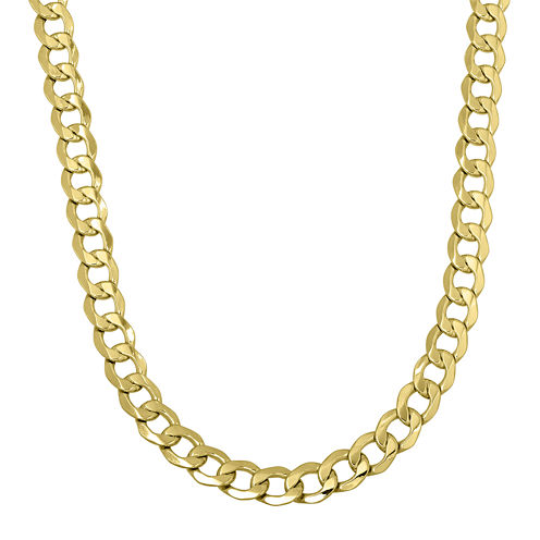 "Made in Italy Mens 14K Yellow Gold 22"" Hollow Curb Chain Necklace"