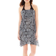 Stylus™ Garden Scroll Print Mesh Convertible Dress Cover-Up