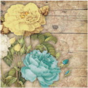 Yellow, White and Teal Roses Canvas Wall Art