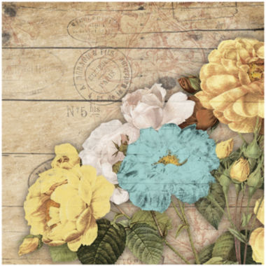 jcpenney.com | Yellow, White and Teal Roses on Planks Canvas Wall Art