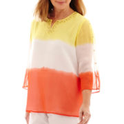 Alfred Dunner® Sunny Days 3/4-Sleeve Dip-Dye Tunic