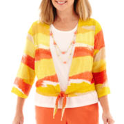 Alfred Dunner® 3/4-Sleeve Sunny Days Striped Necklace Top
