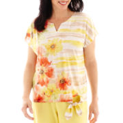 Alfred Dunner® Short-Sleeve Sunny Days Watercolor Striped Tie-Front T-Shirt