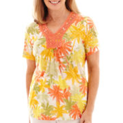 Alfred Dunner® Sunny Days Short-Sleeve Palm Tree Burnout T-Shirt
