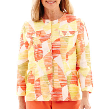jcpenney.com | Alfred Dunner® Sunny Days 3/4-Sleeve Abstract Geometric Jacket