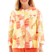 Alfred Dunner® Sunny Days 3/4-Sleeve Abstract Geometric Jacket