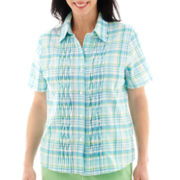 Alfred Dunner® Short-Sleeve Ocean Drive Plaid Pintucked Top
