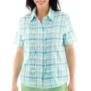 Alfred Dunner® Ocean Drive Short-Sleeve Plaid Pintucked Top