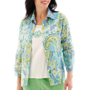 Alfred Dunner® Ocean Drive 3/4-Sleeve Fish Mosaic Layered Top