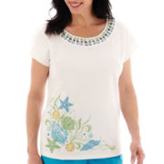 Alfred Dunner® Ocean Drive Short-Sleeve Seashell Embroidered Top