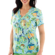 Alfred Dunner® Ocean Drive Short-Sleeve Tropical Fish Print Top