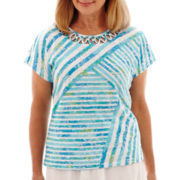 Alfred Dunner® Short-Sleeve Ocean Drive Splice Striped Burnout T-Shirt