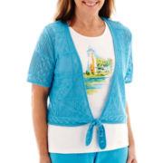 Alfred Dunner® Short-Sleeve Ocean Drive Scenic Crochet Tie-Front Sweater