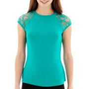 Bisou Bisou® Lace-Sleeve T-Shirt