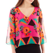 Bisou Bisou® Sheer-Sleeve Print Blouse