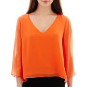 Bisou Bisou® Sheer-Sleeve V-Neck Top