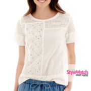 Stylus™ Short-Sleeve Eyelet Top