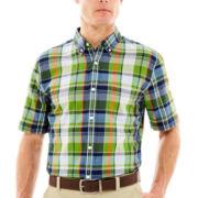 St. John's Bay® Short-Sleeve Madras Plaid Shirt