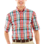 St. John's Bay® Short-Sleeve Madras Plaid Shirt