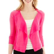 Worthington® 3/4-Sleeve Open-Front Pointelle-Trim Cardigan Sweater - Tall