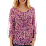 St. John's Bay® 3/4-Sleeve Pintuck Peasant Top - Tall