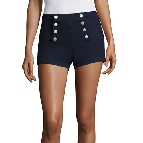 """Almost Famous 2.5"""" Navy High-Rise Sailor Shorts-Juniors"""