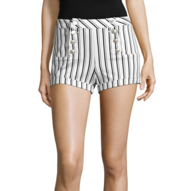jcpenney.com | Almost Famous Striped High-Rise Sailor Shorts-Juniors